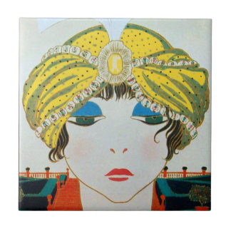 WOMAN WITH ORIENTAL YELLOW TURBAN / Beauty Fashion Small Square Tile