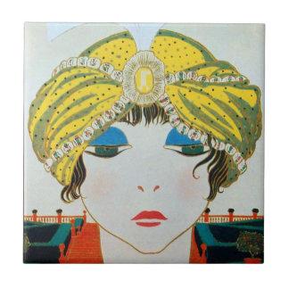 WOMAN WITH ORIENTAL YELLOW TURBAN / Beauty Fashion Tile
