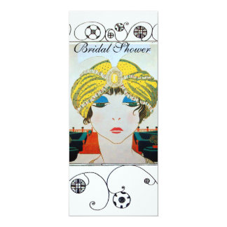 WOMAN WITH ORIENTAL YELLOW TURBAN BRIDAL SHOWER CARD