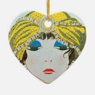 WOMAN WITH ORIENTAL YELLOW TURBAN / RED RUBY HEART CERAMIC ORNAMENT