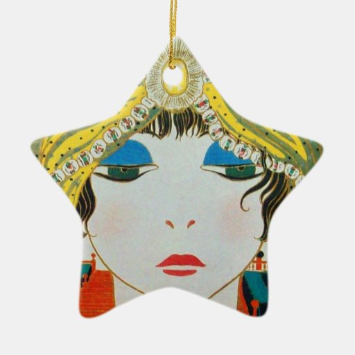 Woman with oriental yellow turban star christmas ornament
