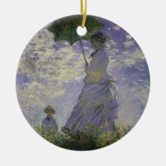 Woman with Parasol by Claude Monet, Vintage Art Ceramic Ornament