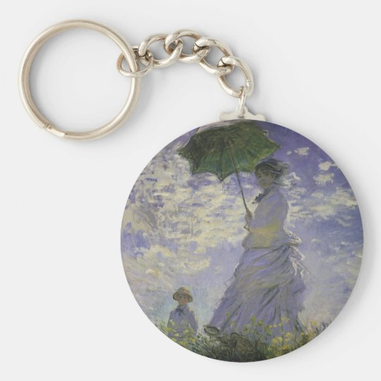 Woman with Parasol by Claude Monet, Vintage Art Keychain