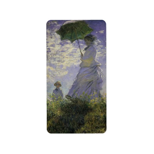 Woman with Parasol by Claude Monet, Vintage Art Label