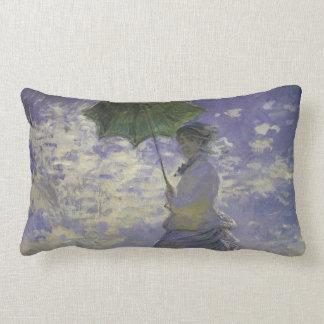 Woman with Parasol by Claude Monet, Vintage Art Lumbar Pillow