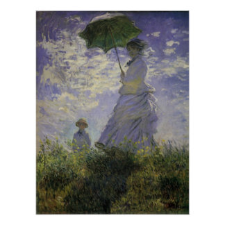 Woman with Parasol by Claude Monet, Vintage Art Poster