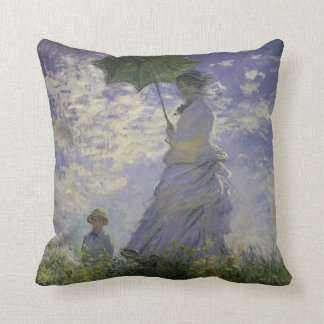Woman with Parasol by Claude Monet, Vintage Art Throw Pillow