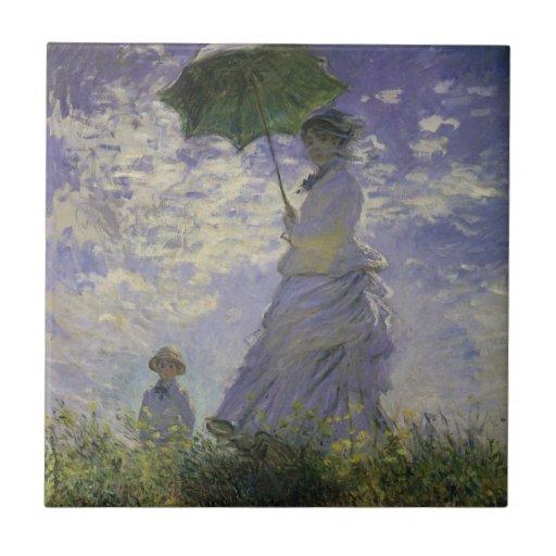 Woman with Parasol by Monet, Vintage Impressionism Ceramic Tile