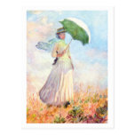 Woman with Parasol (facing right) by Claude Monet Post Cards