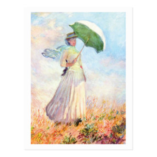 Woman with Parasol Facing Right by Claude Monet Postcard