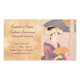 Woman with Parasol Kitagawa Utamaro japanese lady Double-Sided Standard Business Cards (Pack Of 100)