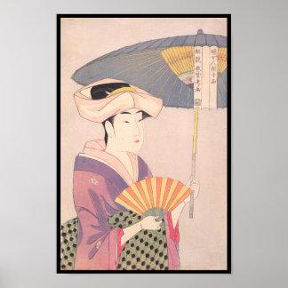 Woman with Parasol Kitagawa Utamaro japanese lady Poster