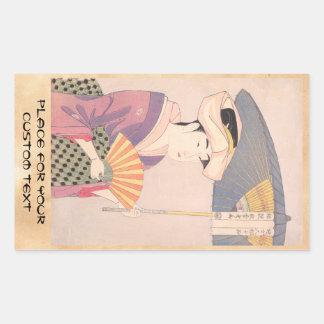 Woman with Parasol Kitagawa Utamaro japanese lady Rectangular Sticker