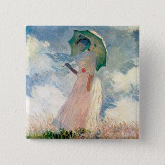 Woman with Parasol Promenade Monet Button