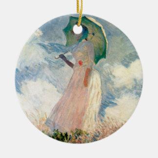 Woman with Parasol Promenade Monet Ceramic Ornament