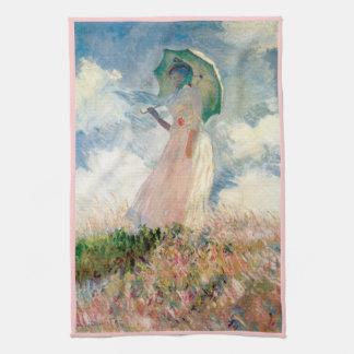 Woman with Parasol Promenade Monet Kitchen Towel