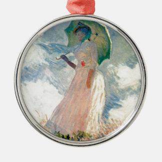 Woman with Parasol Promenade Monet Metal Ornament