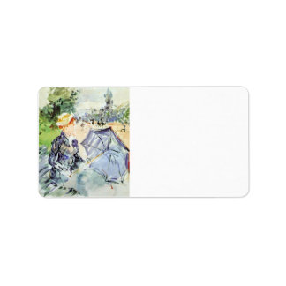 Woman with Parasol sitting in the park by Morisot Personalized Address Labels