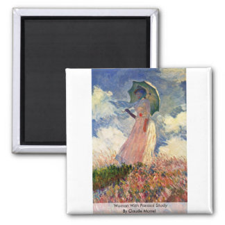 Woman With Parasol Study By Claude Monet Fridge Magnets
