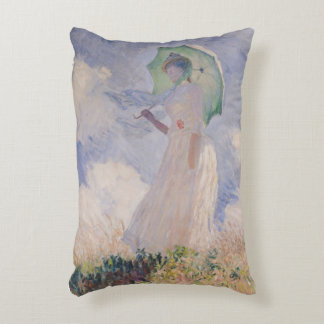 Woman with Parasol turned to the Left, 1886 Accent Pillow