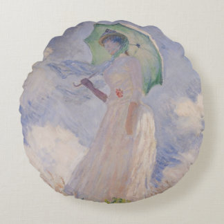 Woman with Parasol turned to the Left, 1886 Round Pillow
