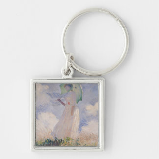 Woman with Parasol turned to the Left, 1886 Silver-Colored Square Keychain