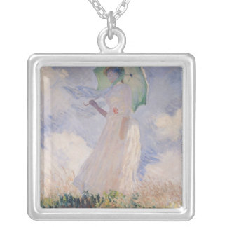 Woman with Parasol turned to the Left, 1886 Square Pendant Necklace