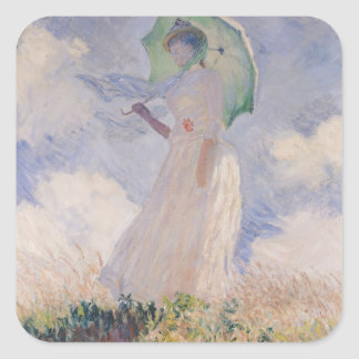 Woman with Parasol turned to the Left, 1886 Square Sticker