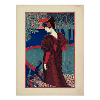 Woman with Peacocks 1897 by Louis Rhead Poster