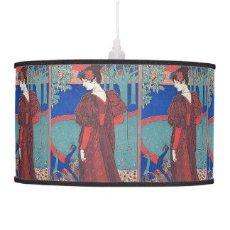 Woman With Peacocks Art Nouveau Vintage Fine Art Ceiling Lamp