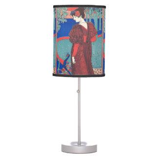 Woman With Peacocks Art Nouveau Vintage Fine Art Desk Lamp