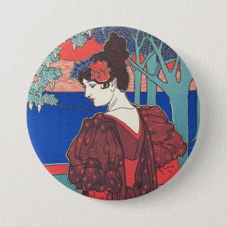 Woman With Peacocks Art Nouveau Vintage Fine Art Pinback Button