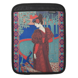 Woman With Peacocks Art Nouveau Vintage Fine Art Sleeve For iPads