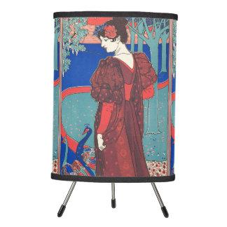 Woman With Peacocks Art Nouveau Vintage Fine Art Tripod Lamp