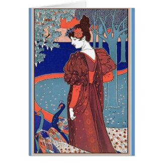 Woman with Peacocks by: Louis John Rhead Cards