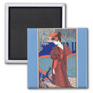 Woman with Peacocks by: Louis John Rhead Refrigerator Magnets