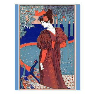Woman with Peacocks by: Louis John Rhead Postcards