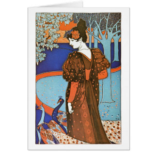 Woman with Peacocks – Louis Rhead Card