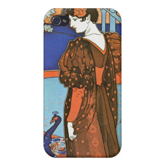 Woman with Peacocks – Louis Rhead iPhone 4/4S Cover