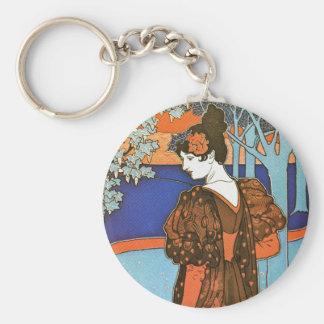 Woman with Peacocks – Louis Rhead Keychain