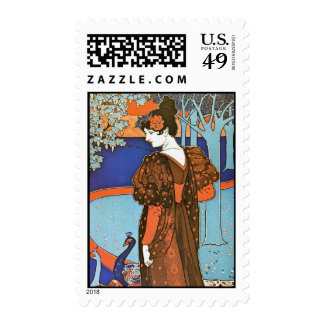 Woman with Peacocks – Louis Rhead Postage Stamps