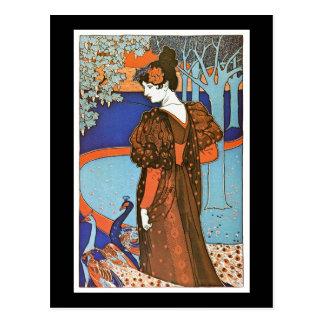 Woman with Peacocks – Louis Rhead Postcard