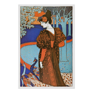 Woman with Peacocks – Louis Rhead Print