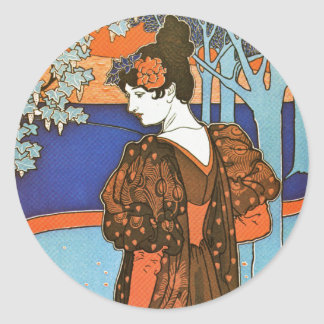 Woman with Peacocks – Louis Rhead Round Stickers