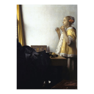 Woman with Pearl Necklace by Johannes Vermeer Card