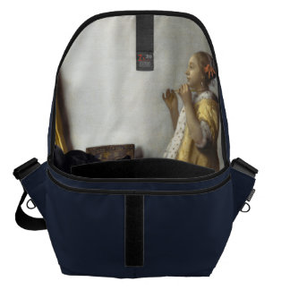 Woman with Pearl Necklace by Johannes Vermeer Courier Bag