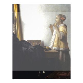 Woman with Pearl Necklace by Johannes Vermeer Flyer