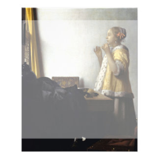 Woman with Pearl Necklace by Johannes Vermeer Custom Flyer