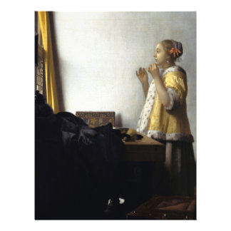 Woman with Pearl Necklace by Johannes Vermeer Full Color Flyer