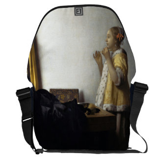 Woman with Pearl Necklace by Johannes Vermeer Messenger Bag
